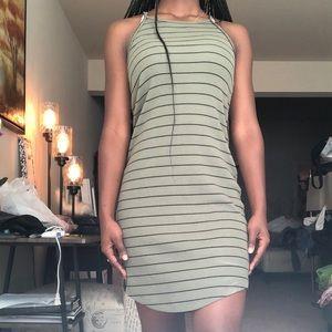 Striped halter midi dress